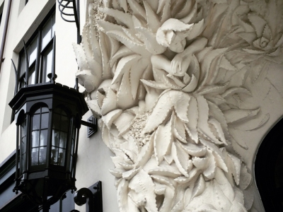 ornate lighting fixture and sculpture