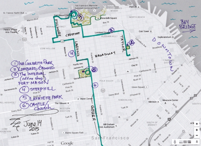 map of June 14, 2015 walk