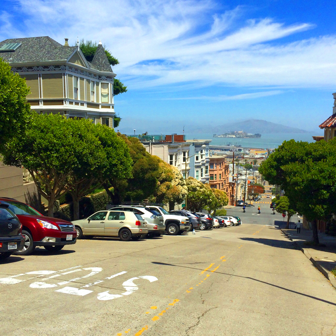 view of the San Francisco Bay from Pacific Heights