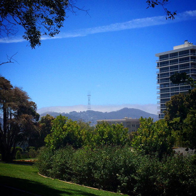 view of the Sutro Tower from Lafayette Park