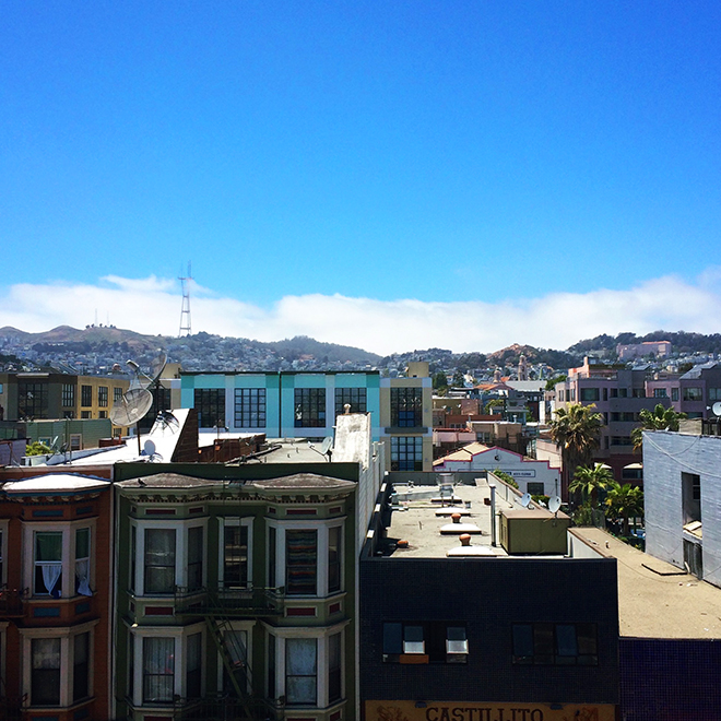 view of Mission District from rooftop