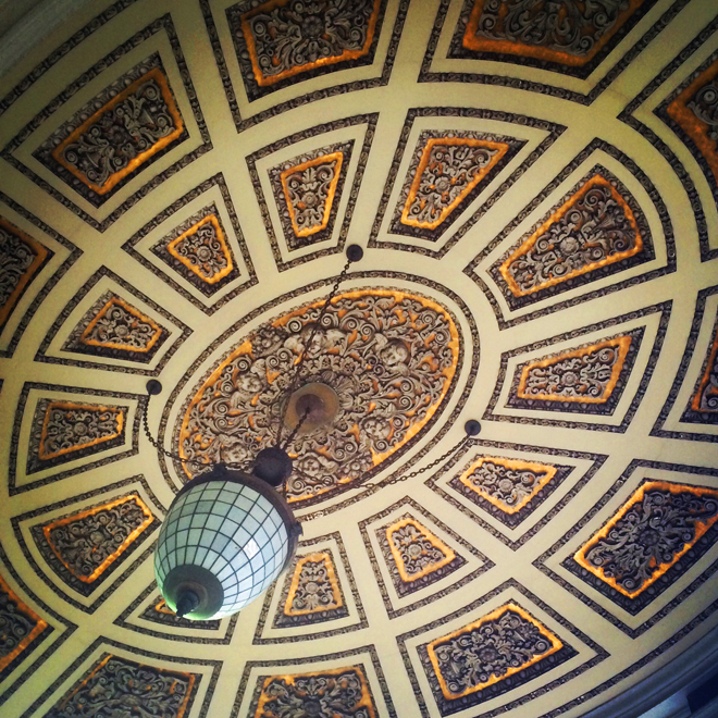 ornate ceiling in wells fargo bank