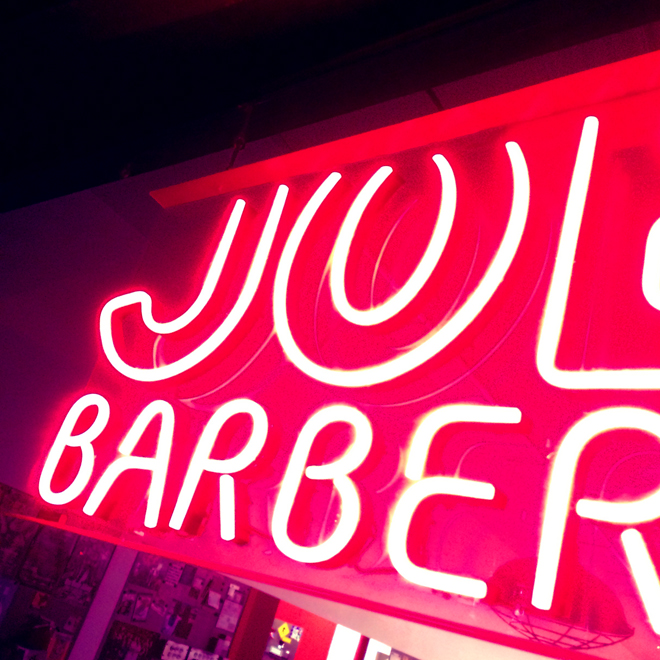 neon sign for Joe's Barber shop
