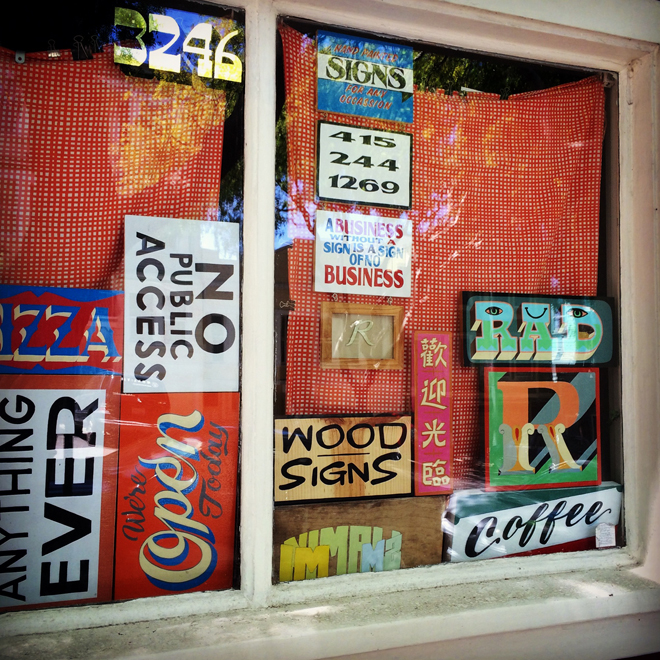 signs in a window