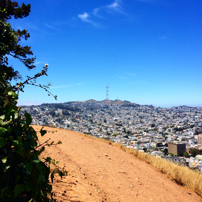 Sutro Tower and San Francisco view from Bernal Heights