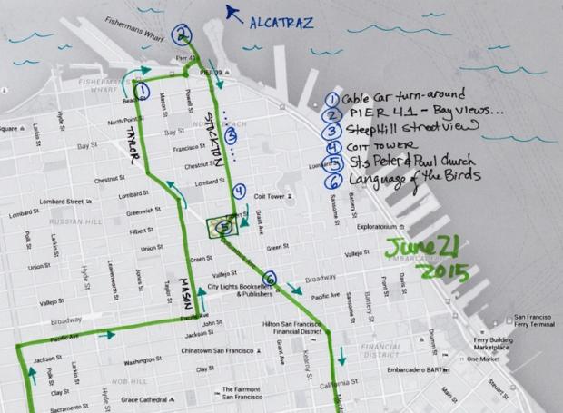 map of June 21, 2015, walk