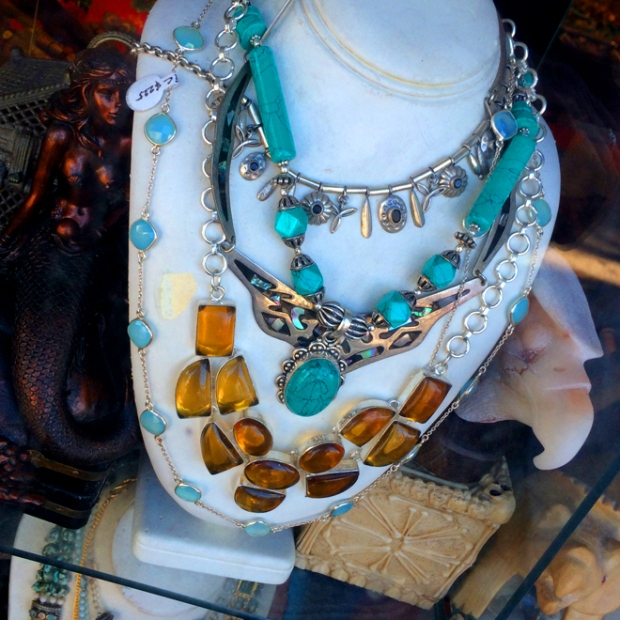 jewelry in a window display on Haight Street