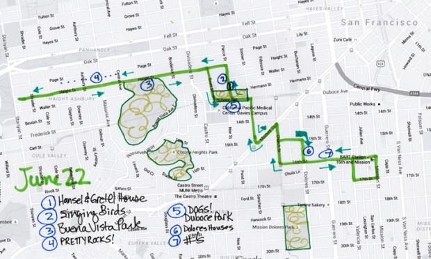 map of June 22, 2015 walk