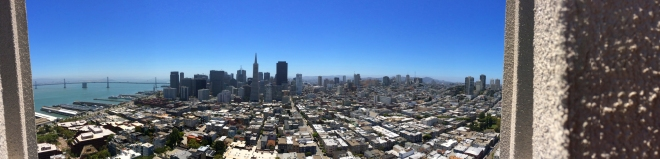 view of San Francisco from the top of Coit Tower