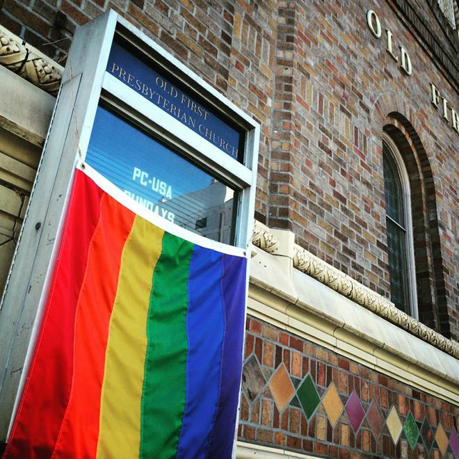 Pride flag on church