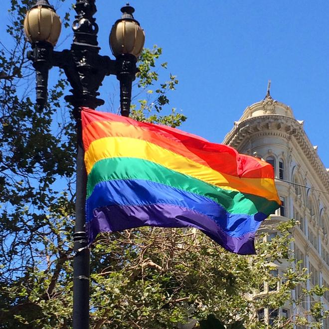Pride flag on Market Street
