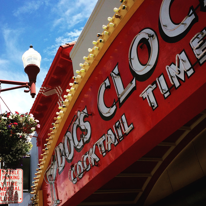 Doc's Clock neon sign