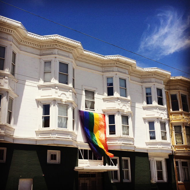 Mission District Victorians with rainbow flag