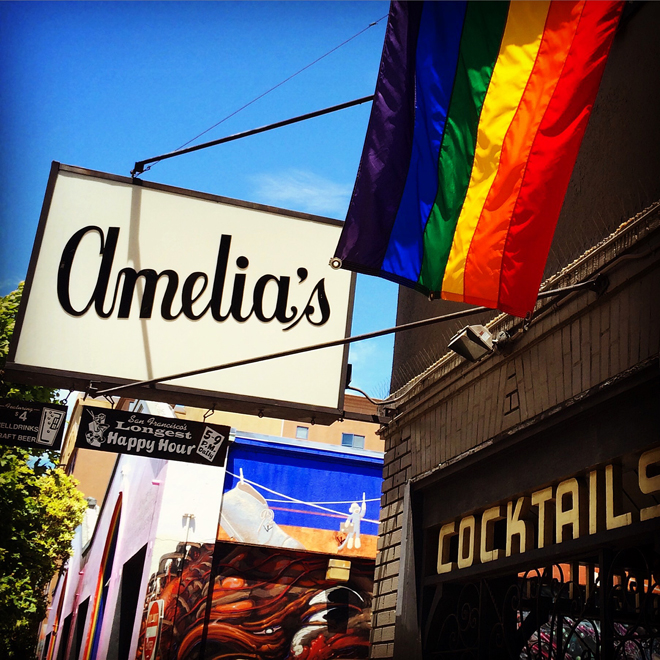 Elbo Room with Amelia's sign for Pride