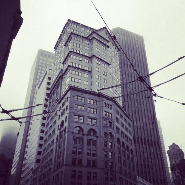 Market Street building, foggy day