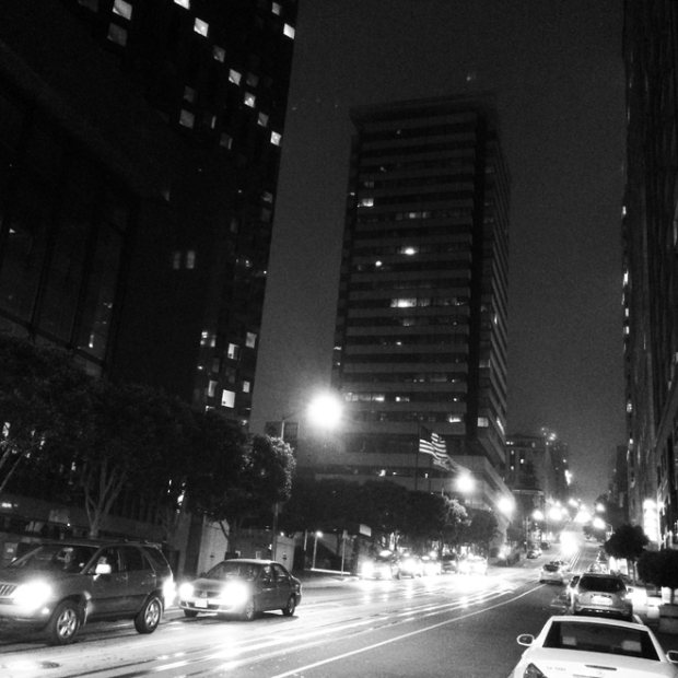 Financial District street at night