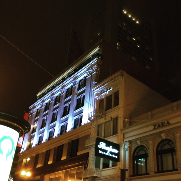 Financial District building at night
