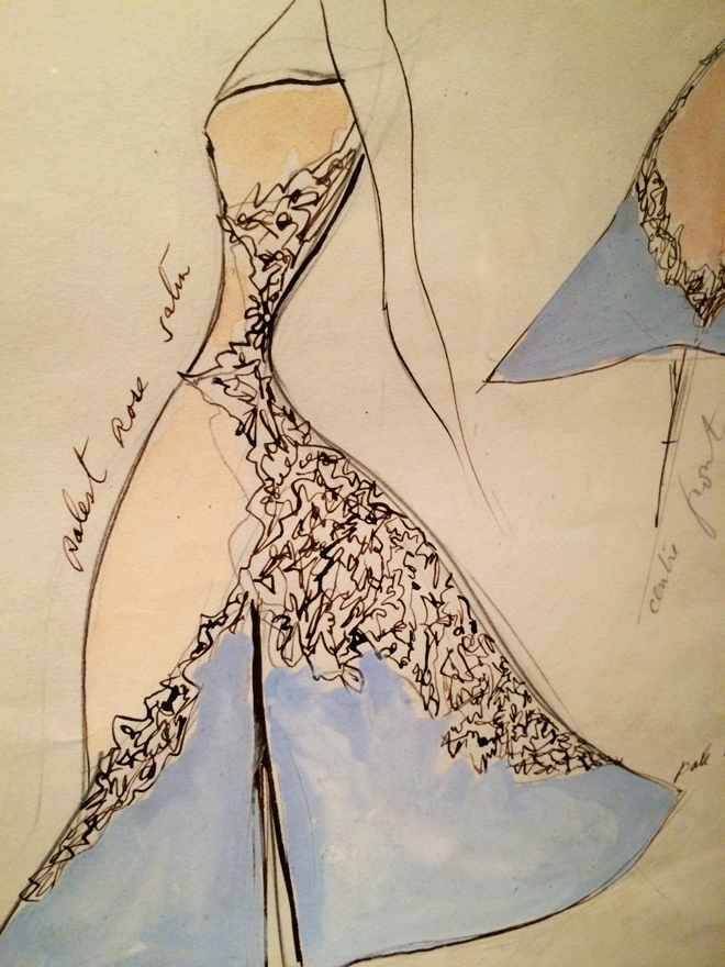 Charles James sketches, High Style exhibit, Legion of Honor