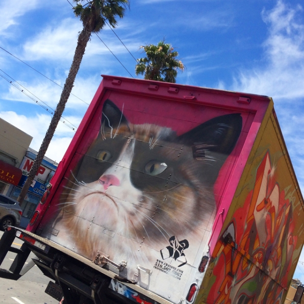 grumpy cat mural on delivery truck