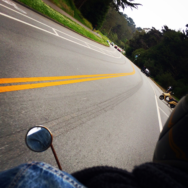 from the back of the scooter, through Golden Gate Park