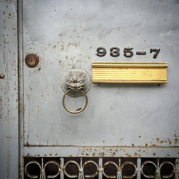 Chinatown door with Imperial Lion door knocker