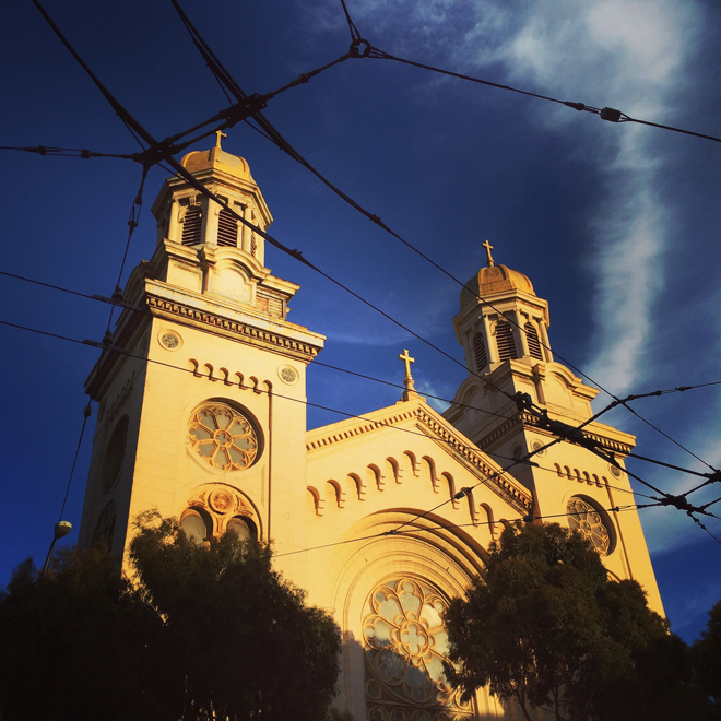vacant St. Joseph's Church on Howard