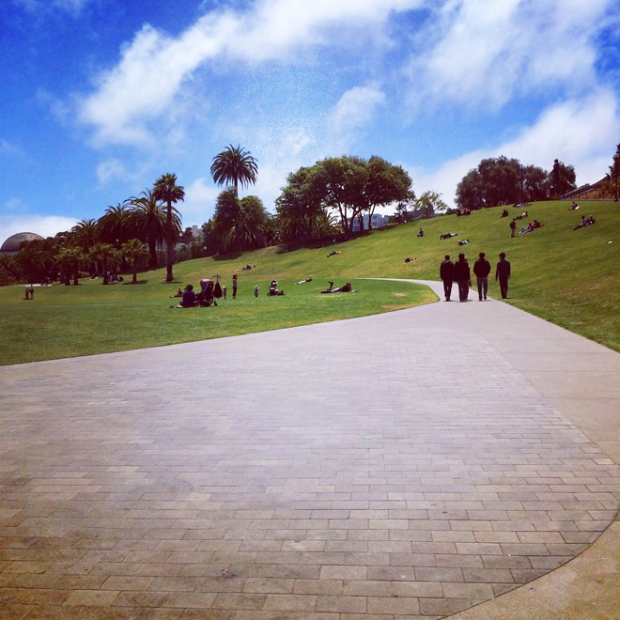 grand path through the newly-renovated north side of Dolores Park