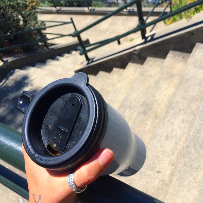 travel coffee mug and staircase in Dolores Heights