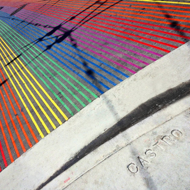 rainbow crosswalks at 18th and Castro streets