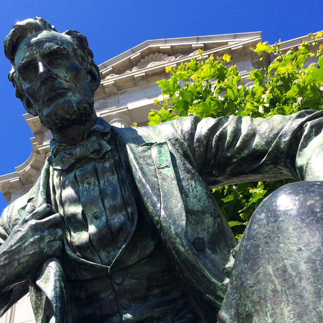 Lincoln statue outside City Hall