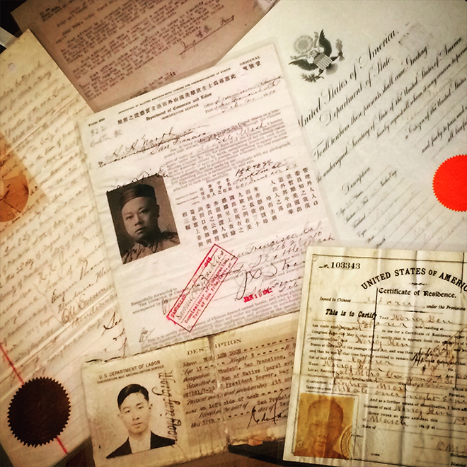 immigration papers at Chinese Historical Society of America Museum