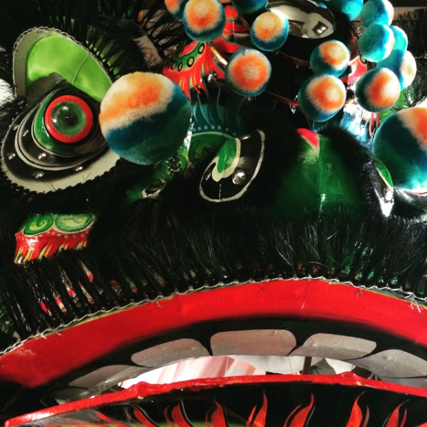 lion dancer costume at Chinese Historical Society of America Museum