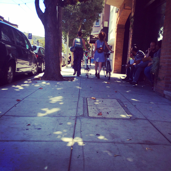 walking bikes in the Mission