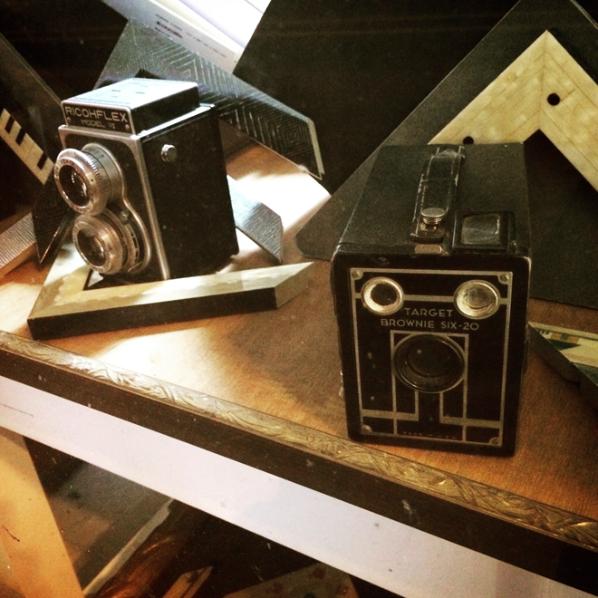 vintage cameras in shop window