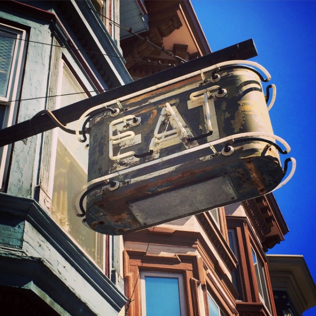 EAT neon sign in the Mission District