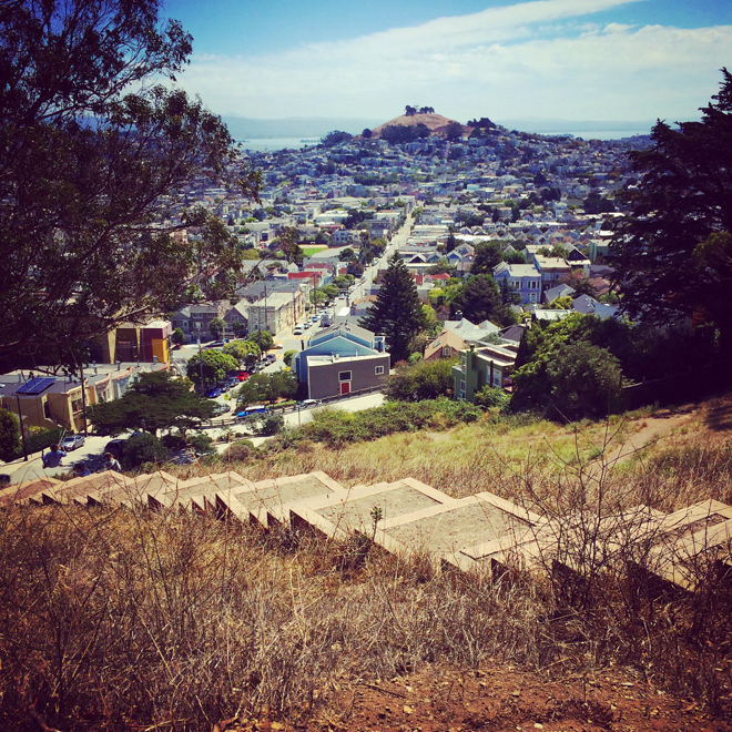 view of Bernal Heights from Billy Goat Hill Park