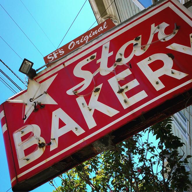 Star Bakery neon sign in Noe Valley