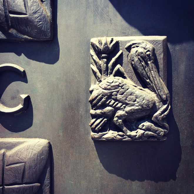 pelican on door at Grace Cathedral