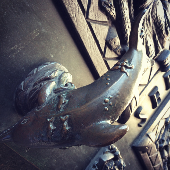 dolphin door handle at Grace Cathedral
