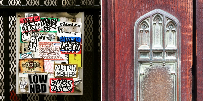 panel with tagger stickers and detail of church door hardware