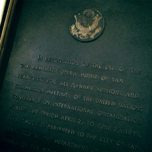 United Nations plaque in War Memorial Opera House