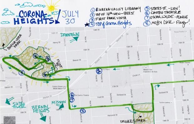 map of 7-30-15 walk to Corona Heights