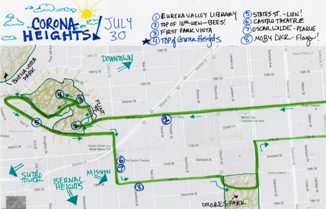 map of 7-30-15 walk to Corona Heights