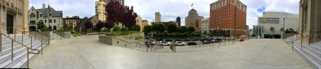 panoramic view from the steps of Grace Cathedral