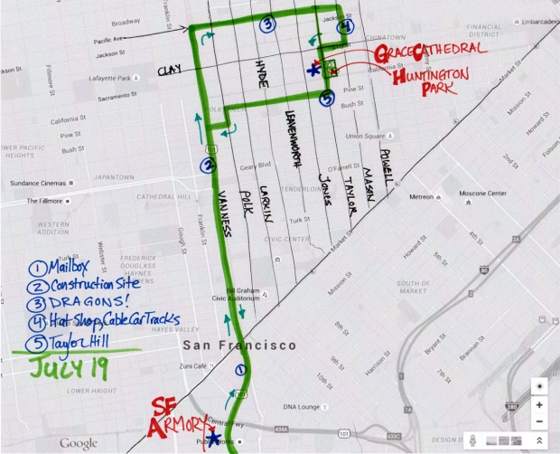 map of July 19 2015 walk