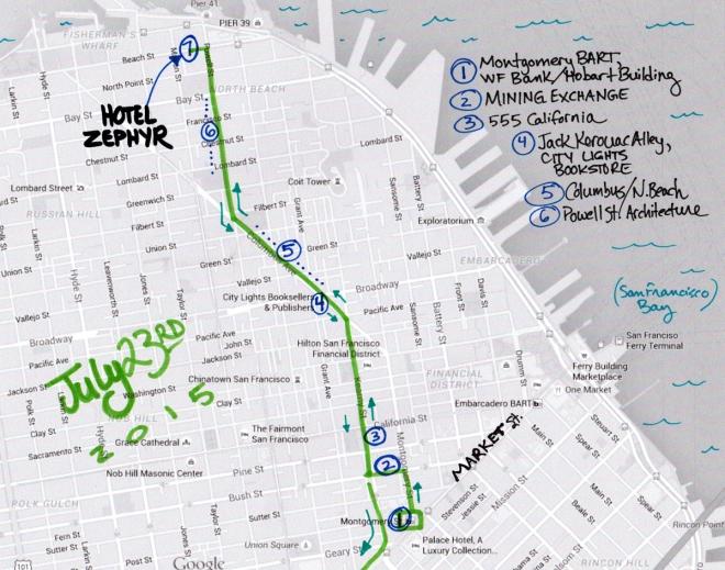 map of July 23 2015 walk