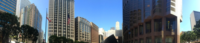 panorama of the corner of Kearney and California, Financial District