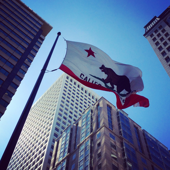 California state flag on the corner of Kearney and California, Financial District