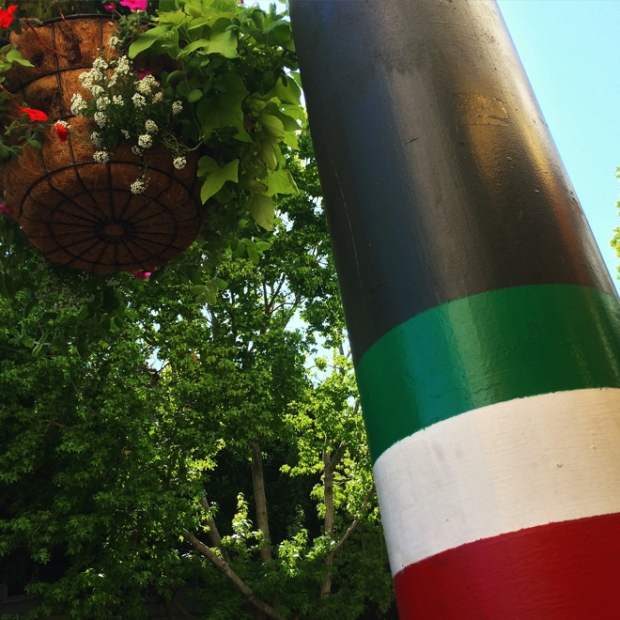 Italian flag painted street poles in North Beach