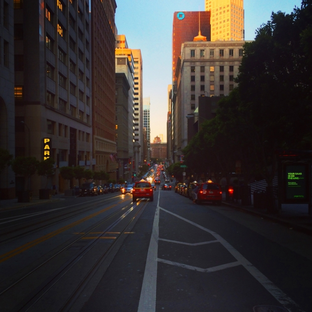 California Street at dusk in the Financial District
